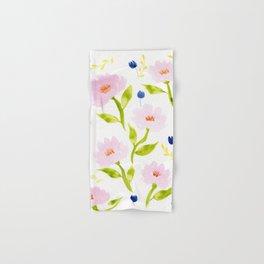 Pink Floral Watercolor Pattern Hand & Bath Towel