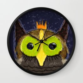 The Kingly Owl - Digital Painting Wall Clock