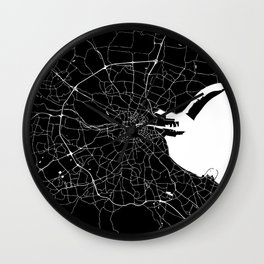 Dublin Street Map Black and White Wall Clock
