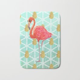 Illustrated Pink Flamingo and Gold Pineapple Design Bath Mat