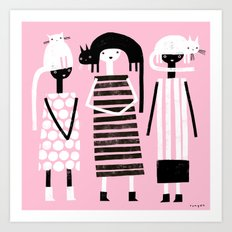 PINK BLACK & WHITE Art Print