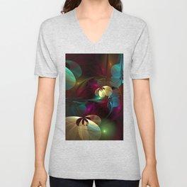 Floral Dancers Colorful Abstract Fractal Art Unisex V-Neck