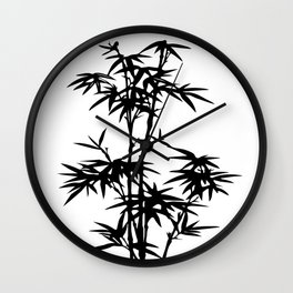 Bamboo Silhouette Black And White Wall Clock