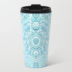 Turquoise Blue, Teal & White Protea Doodle Pattern Travel Mug
