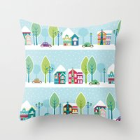ski Throw Pillows featuring Ski house by Polkip