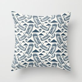 The Hawk's Flight_ Beige and Blue Throw Pillow