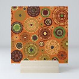 concentric circles orange Mini Art Print
