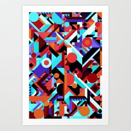 CRAZY CHAOS ABSTRACT GEOMETRIC SHAPES PATTERN (ORANGE RED WHITE BLACK BLUES) Art Print