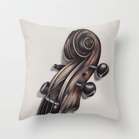 violin Throw Pillows featuring violin by Buffy Ino Kua