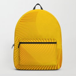 Minimalist Geometric Stylized Circular Sun with Rays in Amber Yellow and Gold Backpack