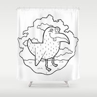 kevin russ Shower Curtains featuring Bird Stuff by Kevin Berquist by UCO Design