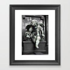 Cherub With Skull Framed Art Print