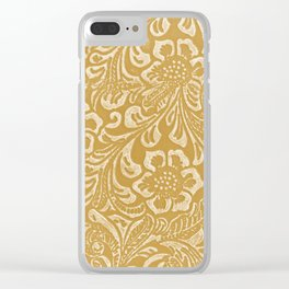 Tan & Cream Tooled Leather Clear iPhone Case