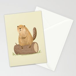 Beaver on a Log Stationery Cards