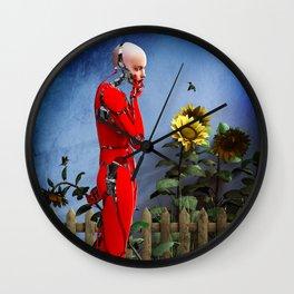 Red Robot visits the Sunflower Garden Wall Clock