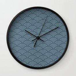 Blue Indigo Denim Waves Wall Clock