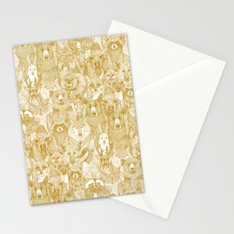 canadian animals gold white Stationery Cards