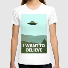 I want to believe low-poly ufo Womens Fitted Tee MEDIUM White