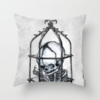 cage Throw Pillows featuring Fetus Cage by Elias Aquino