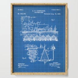 Brewing Beer Patent - Beer Art - Blueprint Serving Tray