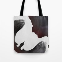 edgar allen poe Tote Bags featuring Edgar Allen Poe and the Raven ~ Second Edition by Fay Bycroft