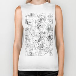 lily sketch black and white pattern Biker Tank