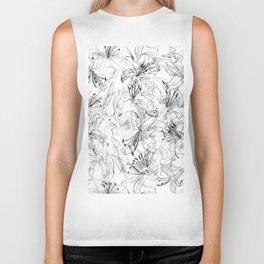 lily sketch black and white pattern Biker Tank