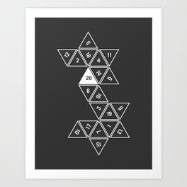 Unrolled D20 Art Print