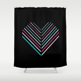 Transcend Neon Heart Shower Curtain
