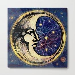 Celestial Antique Man In The Moon Watercolor Batik Metal Print