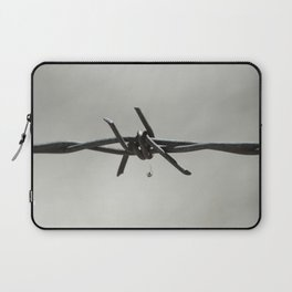 Spider on Barbed Wire in Black and White Laptop Sleeve