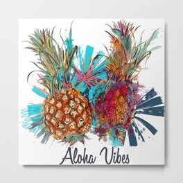 Tropical Hawaii design with funky pineapple Metal Print