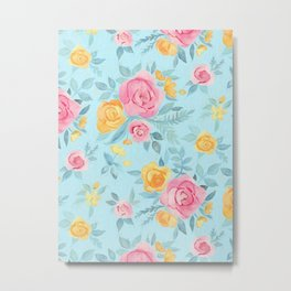 Chalk Pastel Pink & Orange Roses on Sky Blue Metal Print