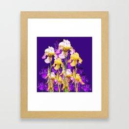 Contemporary Purple Yellow Iris Garden Art Framed Art Print
