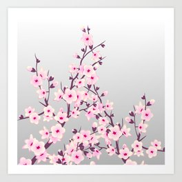 Cherry Blossom Pink Gray Art Print