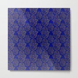 Hamsa Hand pattern - gold on lapis lazuli Metal Print