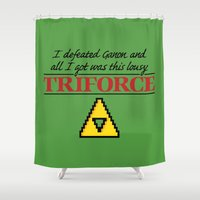 triforce Shower Curtains featuring Lousy Triforce by Mike Handy Art
