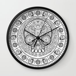 Skull mexican art from the Path to Mictlan Wall Clock