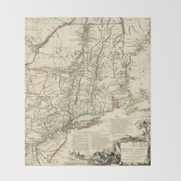 American Revolutionary War Map (1782) Throw Blanket
