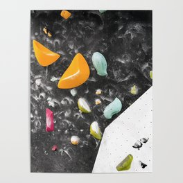 Colorful summer bouldering gym wall climbing holds girls Poster