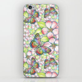 Rainbow Butterfly Blossoms iPhone Skin