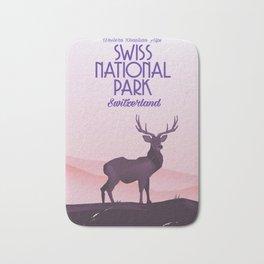 Swiss National Park vintage travel poster Bath Mat
