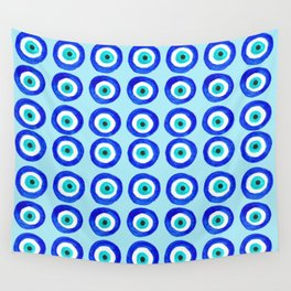 Evil Eye Amulet Talisman - on turquoise Wall Tapestry