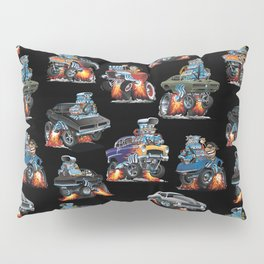 Car Crazy Classic Hot Rod Muscle Cars Cartoons Seamless Pattern Pillow Sham
