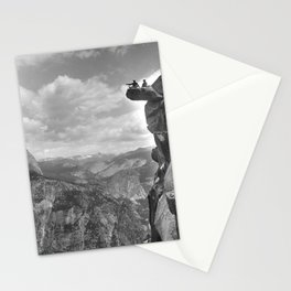 A.E. McConnell and daughter sitting on the precarious Glacier Point in Yosemite National Park, 1901 Stationery Cards