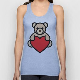 Teddy bear holding red heart Unisex Tank Top