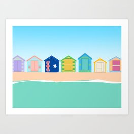 Brighton Beach Bathing Boxes, Melbourne, Australia Art Print