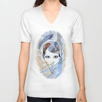 60s V-neck T-shirts featuring '60s Eyes Collage with White Background by Katy Rose