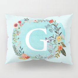 Personalized Monogram Initial Letter G Blue Watercolor Flower Wreath Artwork Pillow Sham