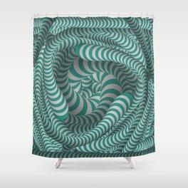 Mint green stripe illusion design Shower Curtain